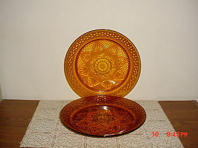 "2-Pc Cristal D'arques Durand ""amber"" 10 1/8"" Dinner Plate/france/rare/free Ship!"