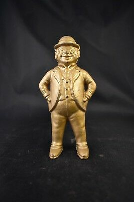 Sale! Antique Cast Iron Bank Man In Bowler Derby Hat Gilded Banker 3 Piece Suit
