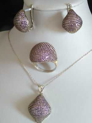 Aaa Quality !! Sterling 925 Silver Jewelry Micro-Pave Purple Amethyst Full Set
