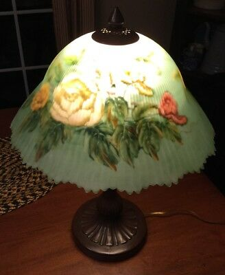 Vtg Antique Repro Victorian Table Lamp Reverse Painted Gl Shade Rose Art Deco