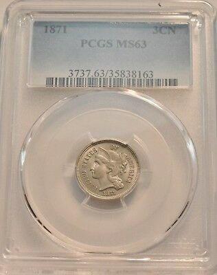1871 3CN PCGS MS 63 Three Cent Nickel, Problem Free Uncirculated Type Coin