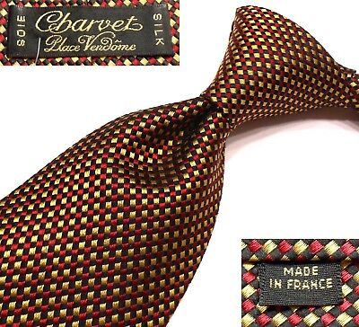 fcc2ebb126c4 Charvet Place Vendome New $235 Mini-Check Silk Tie Made In France W3.625