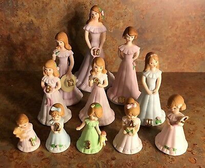 Vintage Lot Enesco Brunette Growing Up Birthday Girls 1-5, 8, 9, 10, 12, 13, 16