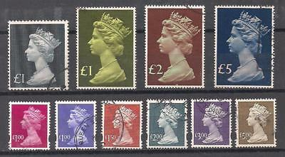 Lot Of 10 High-Value Machins - Vf Used - Great Britain - Queen Elizabeth Ii