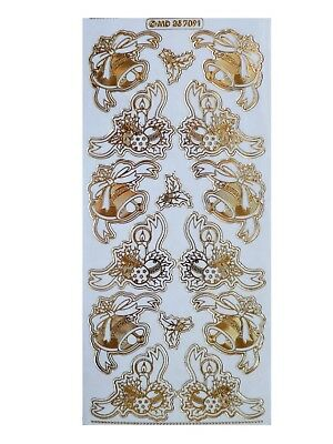 GOLD EMBOSSED BELL & CANDLE CORNERS Peel Off Stickers Christmas Card Making