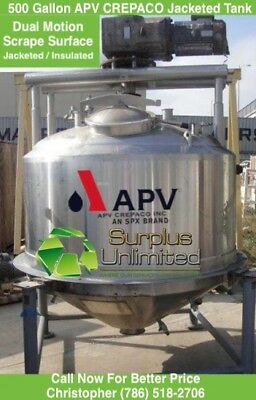 500 gallon APV Crepaco Steam Jacketed Dual Motion Scrape Surface Mixing Tank