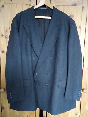 """54"""" Burberry Grey Pinstripe Double Breasted Wool Suit Blazer Jacket"""