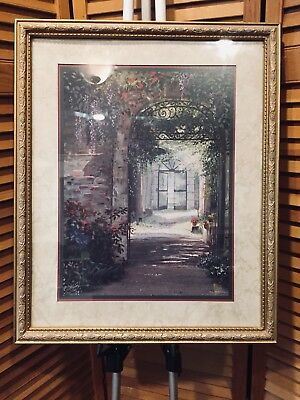 Home Interiors Homco Picture by Archuleta Gold Ornate Frame Roses & Wisteria