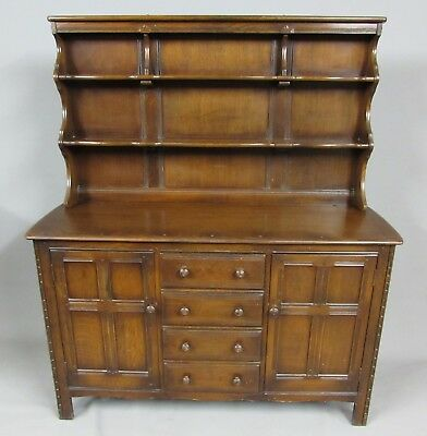 Vintage Dark Elm Ercol Kitchen Dresser / Sideboard Fitted With Four Drawers