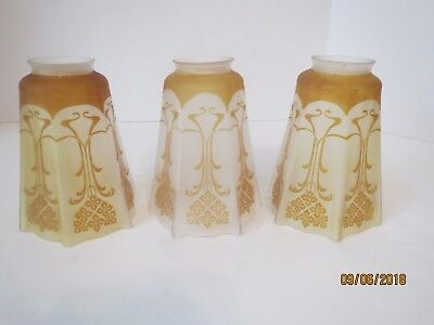 1 Lot(3) Antique Art Nouveau Acid Etched Cameo Style Art Glass Amber Lamp Shades