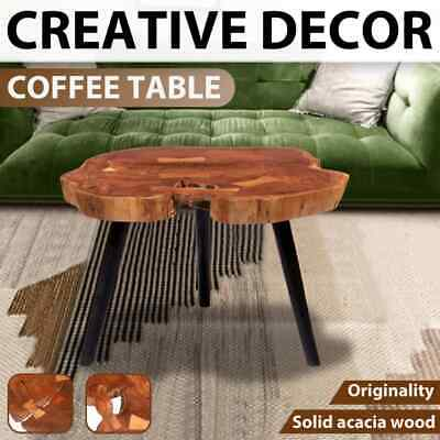 vidaXL Solid Acacia Wood Log Coffee Table (55-60)x40cm Living Room Furniture