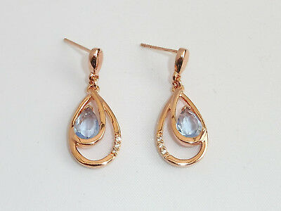 Ladies 18Ct Rose Gold on Sterling 925 Silver 1.5 CT Blue Topaz & Sapphire Studs