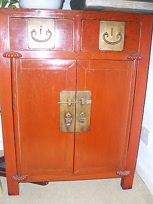 Pair Antique Chinese Lacquer Cupboards Cabinets Drawers China Heirloom Furniture