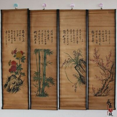 Collectible Set Old Decor China Scroll Painting Four Gentlemen in Plants 梅兰竹菊
