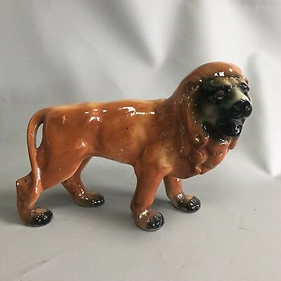 Large Antique Staffordshire Pottery Victorian Fireside or Mantle Standing Lion