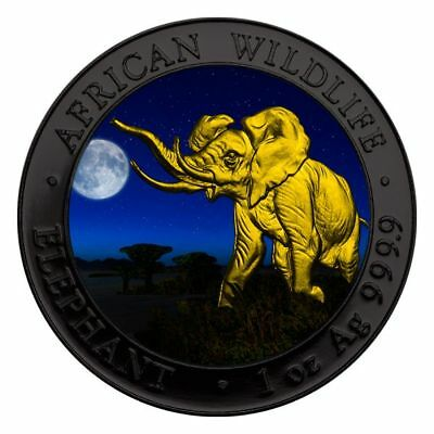 1 oz Silber Somalia *Elefant - Night* farbig BU 100 Shillings 2016 mit CoA in Et