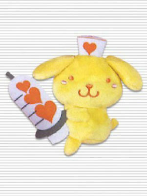 Sanrio Pompompurin Nurse Dressup Keychain Mascot Plush 3.5in NEW JAPAN Itabag
