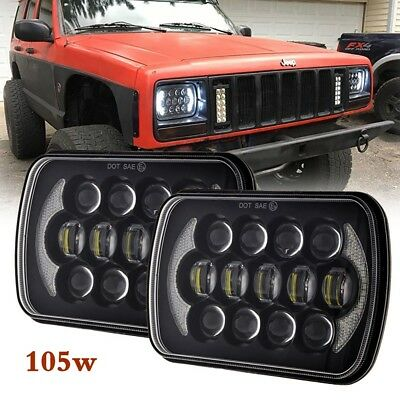 "2X Black 105W 5x7"" 7x6"" inch Led Headlight DRL For Jeep Cherokee XJ DOT Approved"