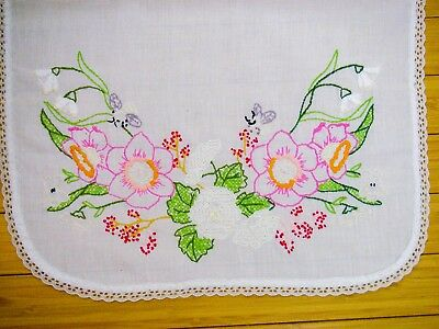 Vintage Embroidered Floral Dresser Scarf Doily with Lace Edge 14x38