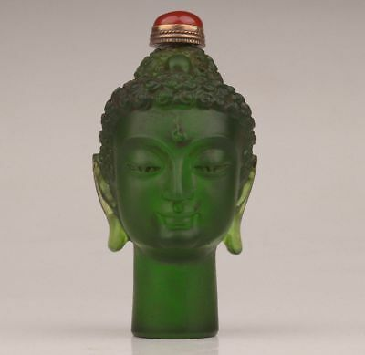 CHINESE OLD GREEN COLORED GLAZE SNUFF BOTTLE Carved Sakyamuni head BUDDHA STATUE