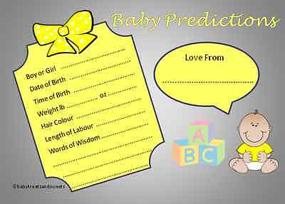 Unisex Baby Shower Boy/Girl Prediction Cards - Pack of 10, 20, 30