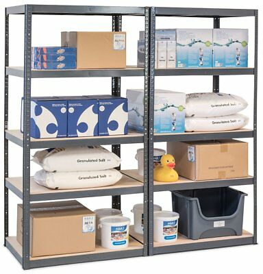 Pack of 2 Heavy Duty Storage Shelves 5 Tier Garage Racking GREY Boltless