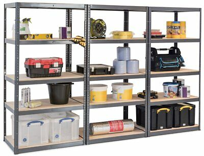 Pack of 3 Heavy Duty Grey Storage Shelves Garage Shop Warehouse Racking Shelving