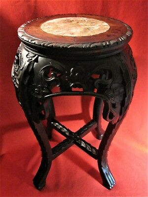 Chinese Table Antique  Carved Wood Marble Top Side Table Stand 19 Inches