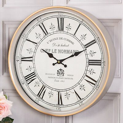 Grey French Style Wall Clock  Round Roman Numerals Hallway Bedroom Home Decor