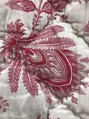 """Antique c1895 French Napoleon red toile Boutis Quilt Reversible Ticking 80"""""""