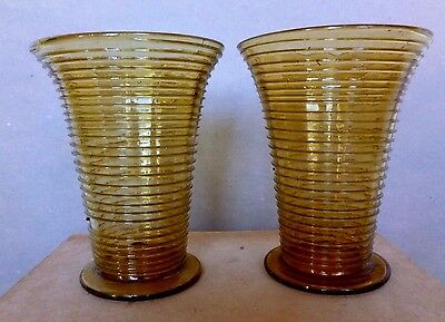 Amber Glass Beakers with Threaded Decoration Germany Antique Circa 1840's