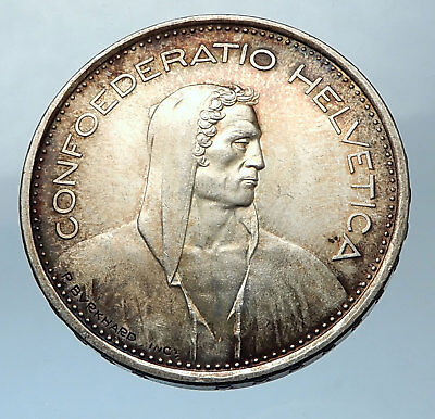 1966 Switzerland Founding HERO WILLIAM TELL 5 Francs Silver Swiss Coin i68270