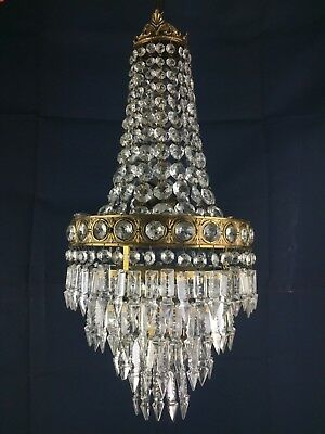 Luxury French Antique 4 Tier 3 Light Bronze & Crystal Waterfall Chandelier Light