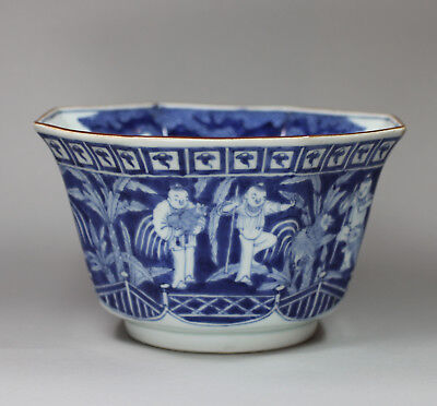 Antique Japanese blue and white deep octagonal bowl, 18th Century