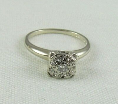 14K White Gold & Diamond Engagement Ring, ART DECO Mid Century, Sz 5- PRISM LITE