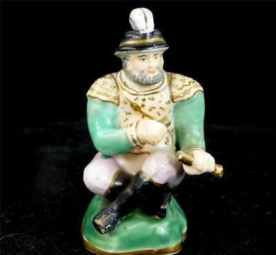 C1830 Small Antique English Porcelain Seated Figure Staffordshire Dudson