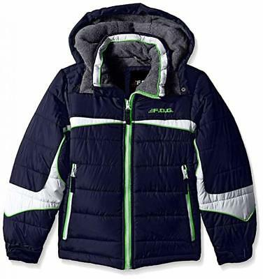 London Fog Big Boys Navy & Green Puffer Jacket Size 8 10/12 14/16
