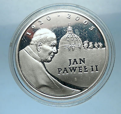POLAND Proof Silver 10 Zlotych Coin POPE JOHN PAUL II St Peter's Basilica i68325
