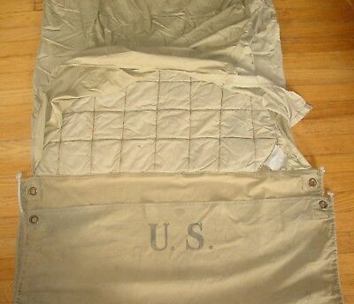 Original WWII US Military M-1941 Sleeping Bag, Khaki Cotton - Excellent Cond