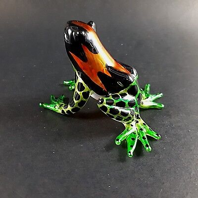Figurine Miniature Blown Glass Frog Hand Animal Collectibles Lampwork Poison Art