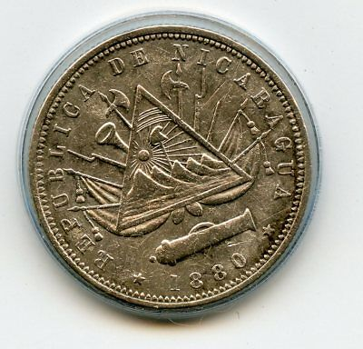 1880 H Nicaragua 20 Centavos Cents scarce 1 year type High Grade Silver KM# 4