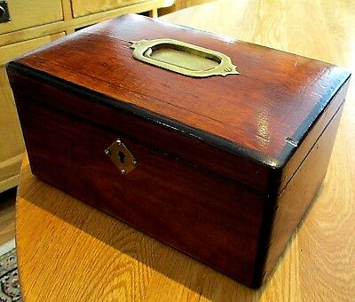 Victorian Wooden Sewing/jewellery Box,brass Fittings,2 Lift Out Trays,blue Velv'