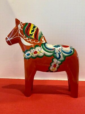 "Vintage Red/Orange Wood Swedish DALA HORSE 10 1/4"" Tall Made in SWEDEN Handpaint"