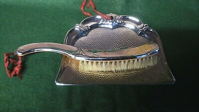 vintage chrome plated table crumb sweeper brush and pan shovel.