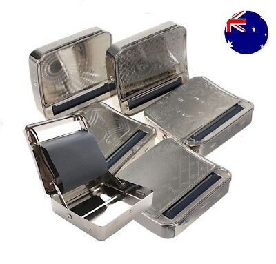 SILVER AUTOMATIC ROLLING Machine Tin Box Metal Roller Cigarette Tobacco Roll Up