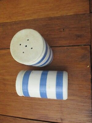 vintage blue and white china salt and pepper pots