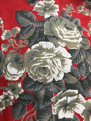 """Stunning Vintage french Shabby Chic Cotton Floral Fabric 45""""/38"""""""