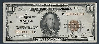 """1929 $100 *Bank of Cleveland, OH* Federal Reserve Bank Note """"XF"""""""