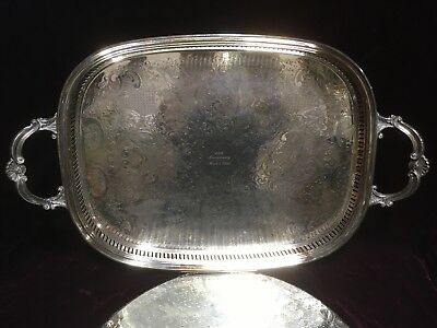 "VTG. Large Vintage Silver Plate On Brass Butlers Gallery Serving Tray 22 1/2""L"