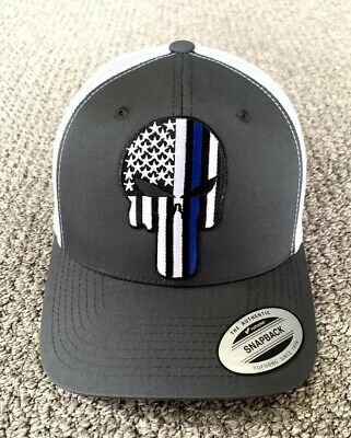 PUNISHER Thin Blue Line Police Hat USA Flag SnapBack Cap Handcrafted in the USA!